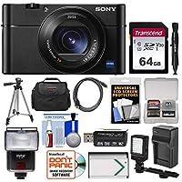 Sony Cyber - shot DSC - rx100V 4K Wi - Fiデジタルカメラwith 64GBカード+ケース+フラッシュ+ビデオライト+バッテリー&充電器+三脚+キット