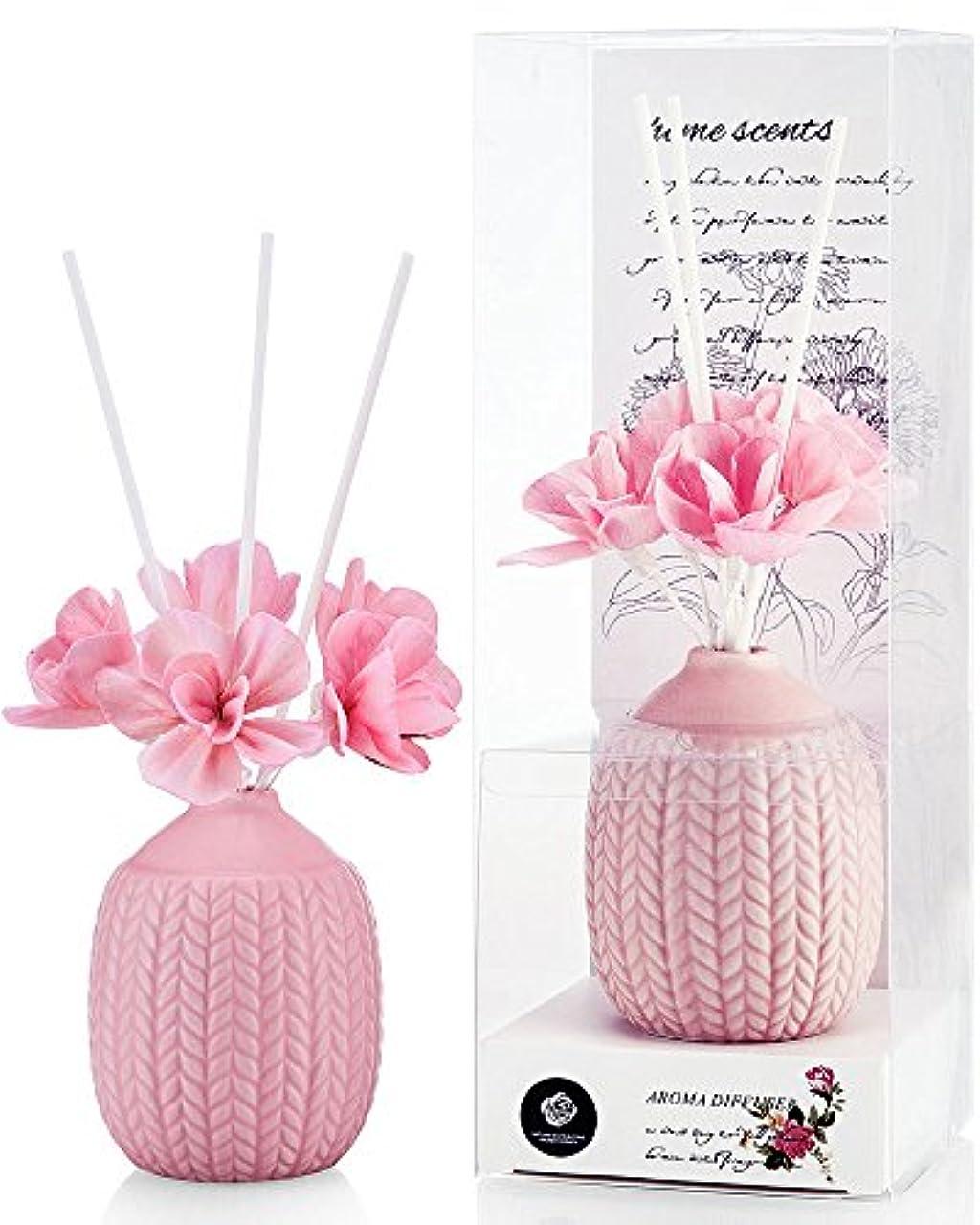 マージン洗練されたパイパステルカラー ルームフレグランス /芳香剤 アロマ スティック リードディフューザー (花:ピンク、香り:ローズ)