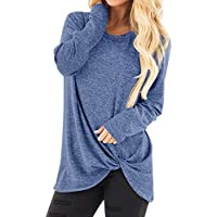 Qootent Women Spring Long Sleeve Casual T Shirt Ladies Loose Bottom Tops Blouse