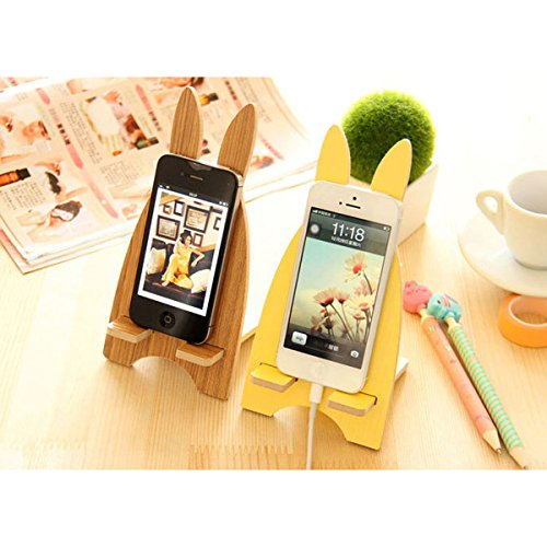 TaoTech かわいい うさぎ 型 木製 スマートフォン タブレット スタンド 便利 グッズ iphone iPad Nexus Galaxy Android などに 適用 (イエロー)
