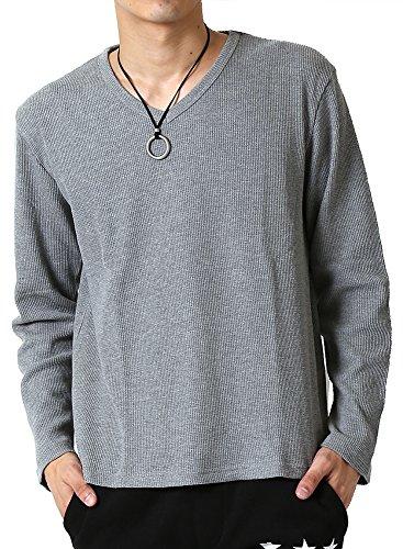 (アーケード) ARCADE サーマル Vネック ロングTシャツ メンズ 長袖 ワッフル ロンT L グレー(Vネック)