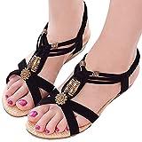 (PlaisteL) 歩きやすい 4cm ローヒール アンクル ストラップ サンダル 靴 可愛い ウッド ビーズ レディース (ブラック 23.5cm)
