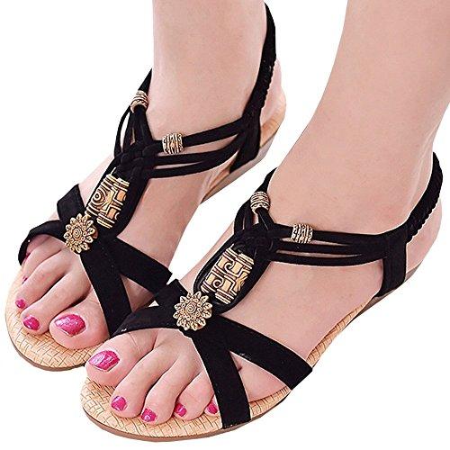 (PlaisteL) 歩きやすい 4cm ローヒール アンクル ストラップ サンダル 靴 可愛い ウッド ビーズ レディース (ブラック 24cm)