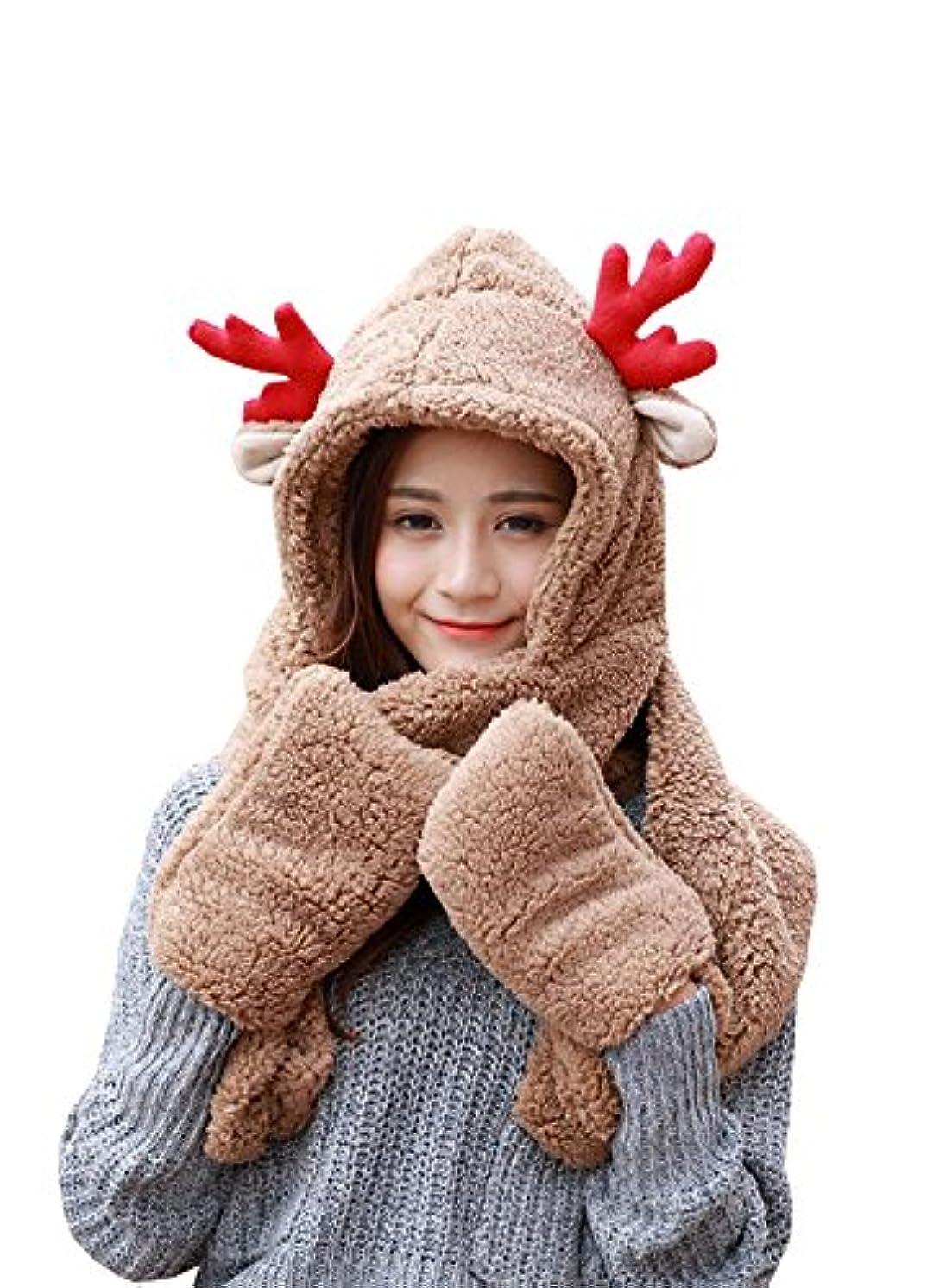 脆い援助適用するクリスマス帽子、Wicky LSレディース冬Devil猫耳ニットビーニー帽子