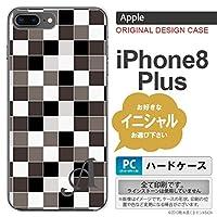 iPhone8Plus スマホケース ケース アイフォン8プラス イニシャル スクエア グレー nk-ip8p-1016ini Q