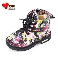 [MonShop] 男の子女の子ブーツエレガント花柄フラワープリントスニーカー子供靴ブーツ赤ちゃん幼児マーティンブーツレザー子供ブーツ (7, Black fur)