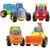 Push and Go Cartoon Friction Powered再生エンジニアリング車両車おもちゃfor 3 Year Old Boys Toddlers KidsトラクターダンプトラックCement Truck Excavatorミキサーブルドーザートラクターのセット4