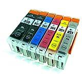 BCI-351XL(BK/C/M/Y/GY)+BCI-350XLBK大容量ブラック 6色セット [Canon]新互換インクカートリッジLED・残量表示付き (最新型ICチップ付き)  【A.I.S製品】