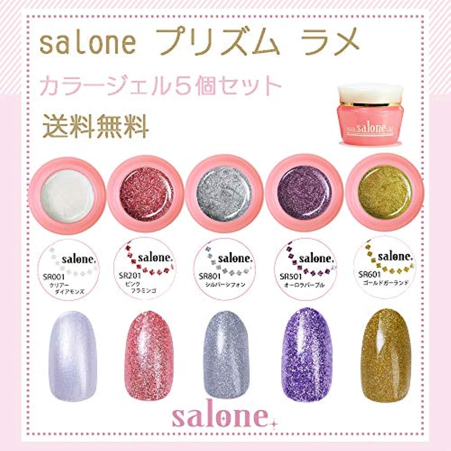 コンパイル疎外するだろう【送料無料 日本製】Salone プリズムラメ カラージェル5個セット キラキラネイルにぴったりなカラー