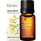Gya Labs Stress Relief Essential Oil Blend - Rose Geranium & Ylang Ylang for Stress Relief & Calming Relaxation (10ml) - 100% Pure Therapeutic Grade Aromatherapy Essential Oils Blends for Diffuser