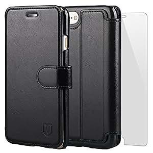iPhone7 ケース iPhone 8 ケース 手帳型 TANNC 「強化ガラスフィルム付き」 財布型ケース レザーケース マグネット式 カード収納 ポケットホルダー付き スタンド機能付き アイフォン7 ケース/アイフォン8 ケースブラック