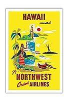 ハワイ - ノースウエスト・オリエント航空 - ビンテージなハワイの旅行のポスター c.1960s - アートポスター - 76cm x 112cm