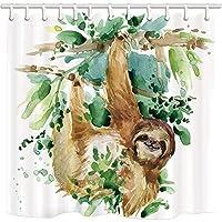 KOTOM動物の装飾シャワーカーテン、ナマケモノが木にぶら下がる防水布浴室のカーテンと12フック、69×70インチ