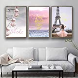 Wall Art 3 Pieces Large Painting Print Simple Wind Forest Cute Animals Art Canvas Print Gift Home Decoration Framed Picture f