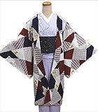 小粋な洗える長羽織オフホワイト地色紙格子ドット猫ねこ(フリー)和装着物冬の必需品