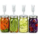 Fermentation Kit for Wide Mouth Jars - 4 Airlocks, 8 Silicone Grommets, 4 Stainless Steel Wide Mouth Mason Jar Fermenting Lids with Silicone Rings (4 Set, Jars Not Included)