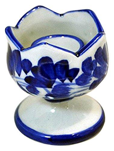 キャンドルスタンド・香炉青白陶器-ブルー&ホワイト染付手描き 【国内Free】