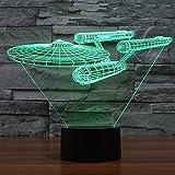 【ノーブランド品】 アクリル製 スター トレック USS エンタープライズ 3D LED ナイト ライト 7色 タッチ スイッチ デスク ランプ
