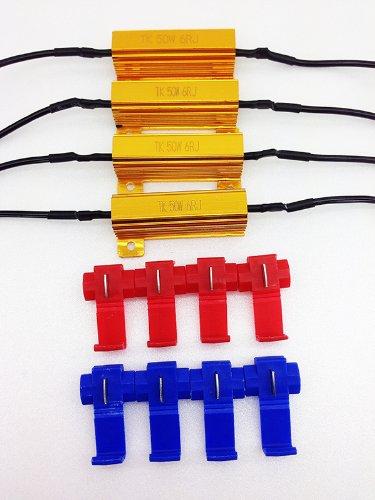 《Z-122-04》◆ 4個セット 抵抗器(12V 50W 6Ω) LED ウィンカー ハイフラ防止 エレクトロタップ8個付き◆