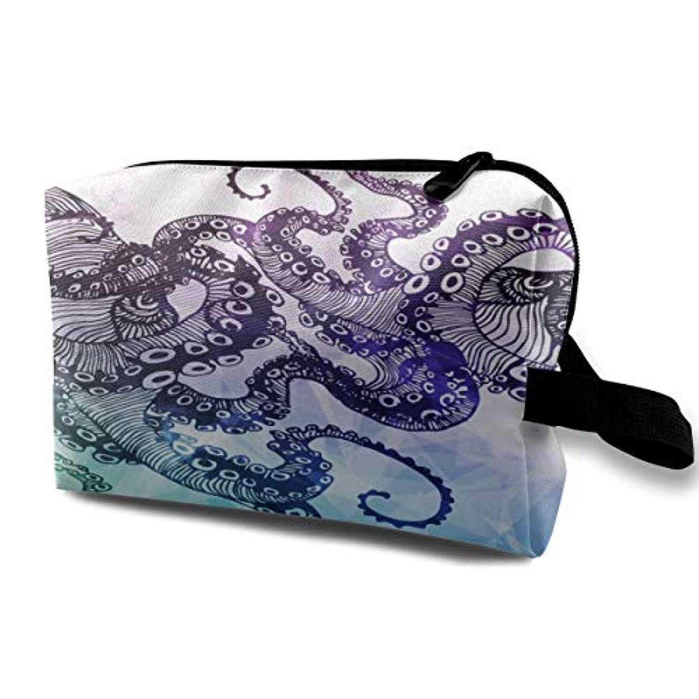 ほのかトン穏やかなHipster Octopus 収納ポーチ 化粧ポーチ 大容量 軽量 耐久性 ハンドル付持ち運び便利。入れ 自宅?出張?旅行?アウトドア撮影などに対応。メンズ レディース トラベルグッズ