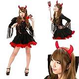 小悪魔 コスチューム 衣装3点セット レディース フリーサイズ (M)