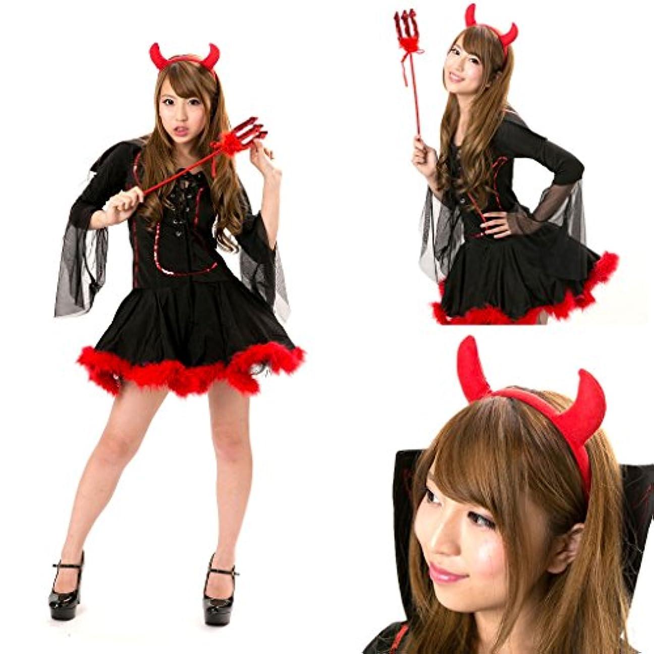 寺院スプーン助けになる小悪魔 コスチューム 衣装3点セット レディース フリーサイズ (M)
