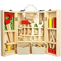 Vacio 子供用木製ツールボックスセット 学習玩具組み立てセット キッズツールキット ごっこ遊びツールボックス アクセサリーセット 男の子 柔術