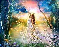 LovetheFamily 不思議の国の美女 数字キットによる絵画 数字油絵 数字キット塗り絵 手塗り DIY絵 デジタル油絵 ホーム オフィス装飾 (40x50cm, フレーム付き)