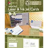 MACO Recycled Laser/Ink Jet White Business Cards, 2 x 3-1/2 Inches, 10 Per Sheet, 250 Per Box (RL-8550) [並行輸入品]