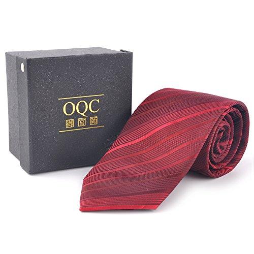 (オーキューシー)OQC メンズ ネクタイ シルク100% ビジネス・就職活動・結婚式・披露宴・成人式 ウールインターライニング ジャガード織 ストライプ チェック ドット プレゼント用 ギフト収納箱付