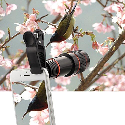 Topist スマートフォン用カメラレンズ  12倍 簡単装着 望遠レンズ ...