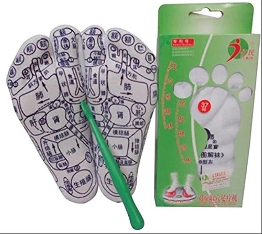 サミット規制まっすぐにするSWELLFLOW 足つぼ プリント 靴下 ツボ押し スティック付 全9サイズ (38(24cm))