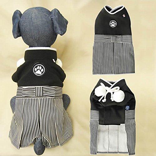 犬 猫 服 着物 袴 衣装 日本男児 Lサイズ 黒 七五三 ...