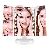 化粧鏡 化粧ミラー 鏡 三面鏡 女優 卓上 21個LED付き 拡大鏡 2X 3X 10X 倍 明るさ調節可能 180°回転 電池&USB2WAY給電 収納便利