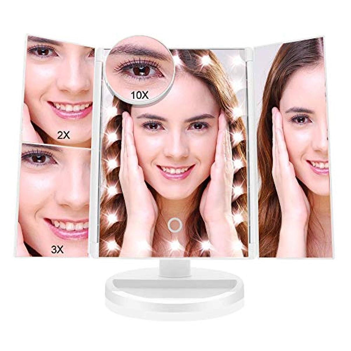 メロディアス新しさメーター化粧鏡 化粧ミラー 鏡 三面鏡 女優 卓上 21個LED付き 拡大鏡 2X 3X 10X 倍 明るさ調節可能 180°回転 電池&USB2WAY給電 収納便利