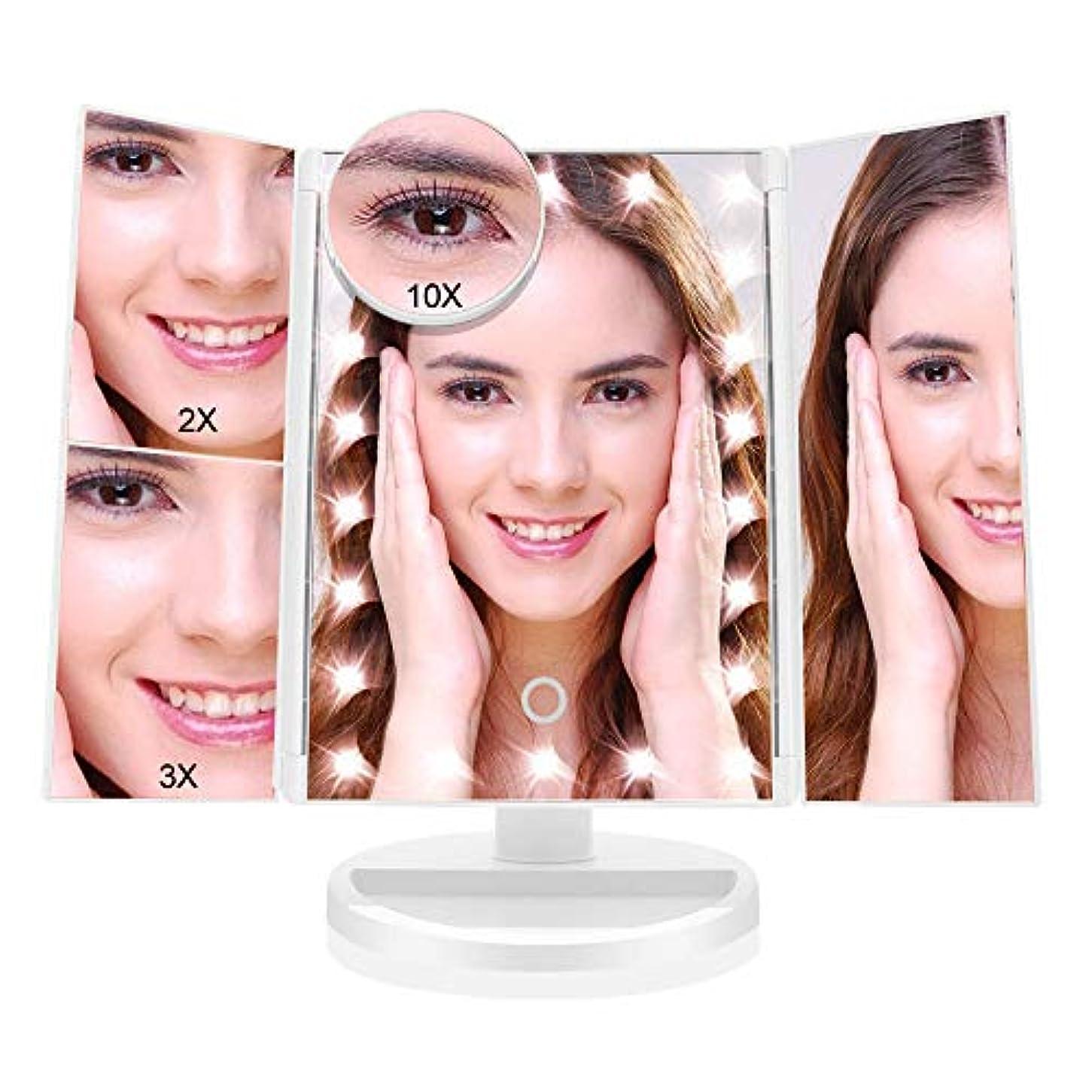 袋レビュアー作動する化粧鏡 化粧ミラー 鏡 三面鏡 女優 卓上 21個LED付き 拡大鏡 2X 3X 10X 倍 明るさ調節可能 180°回転 電池&USB2WAY給電 収納便利