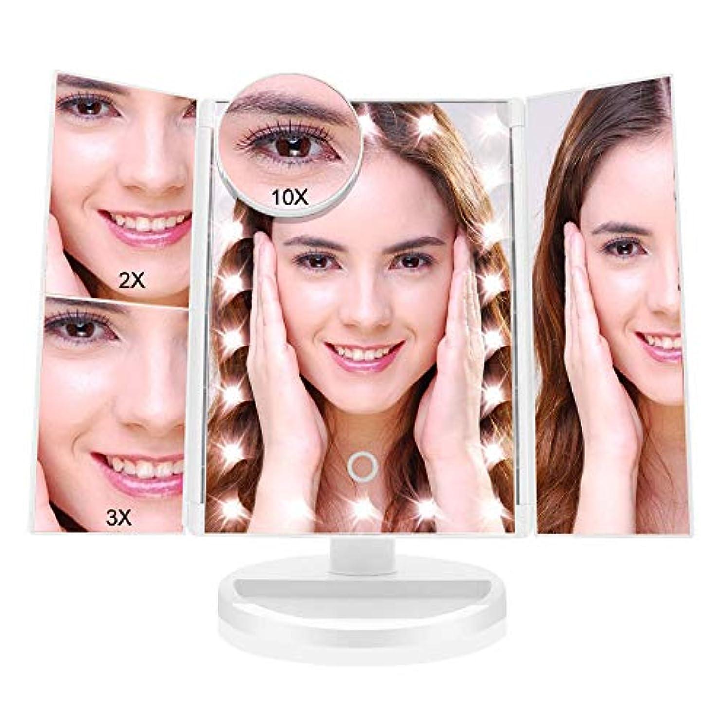 レーダーリハーサルリサイクルする化粧鏡 化粧ミラー 鏡 三面鏡 女優 卓上 21個LED付き 拡大鏡 2X 3X 10X 倍 明るさ調節可能 180°回転 電池&USB2WAY給電 収納便利