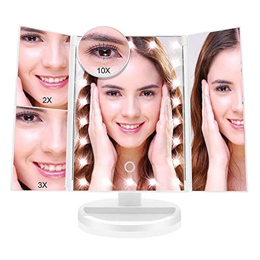 女の子マイナー国旗化粧鏡 化粧ミラー 鏡 三面鏡 女優 卓上 21個LED付き 拡大鏡 2X 3X 10X 倍 明るさ調節可能 180°回転 電池&USB2WAY給電 収納便利
