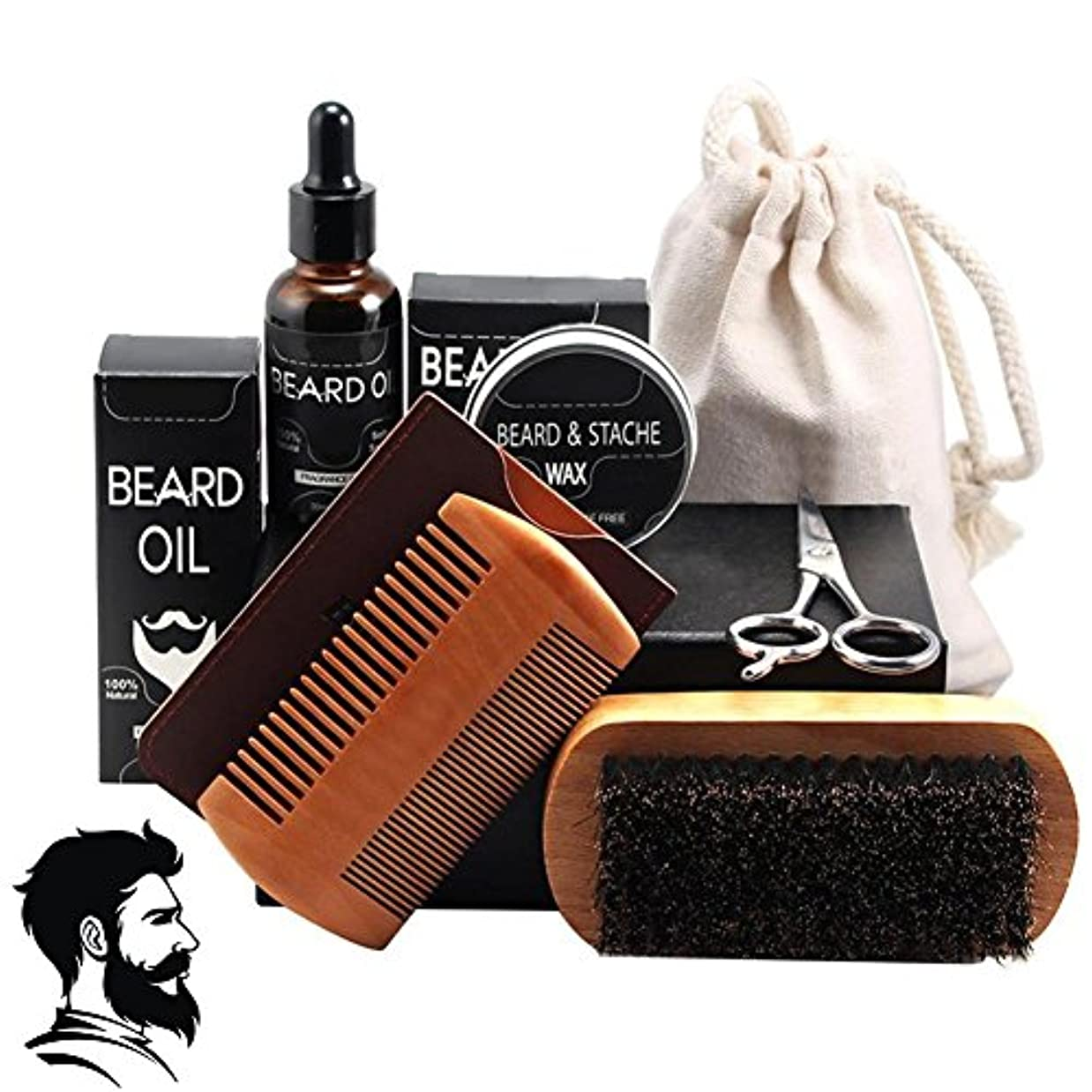 コンプリートリスキーなロッカーあごひげ油、男性の口ひげフルセットヘアケアツール(ひげワックスくし付き)(7PCSのパック)用シェービングブラシプロフェッショナルフェイシャルトリミングハサミ