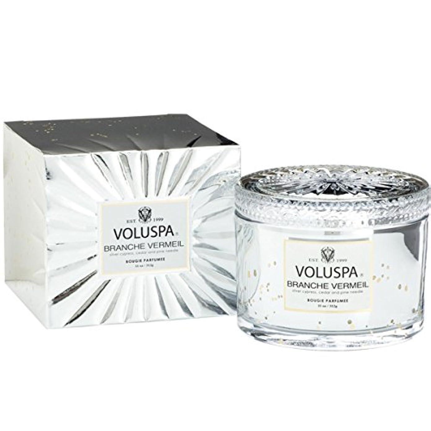 みすぼらしいアプト残り物Voluspa ボルスパ ヴァーメイル ボックス入り グラスキャンドル フ?ランチヴァーメイル BRANCHE VERMEIL VERMEIL BOX Glass Candle