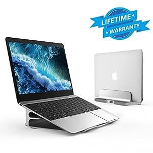 ノートパソコン スタンド pc アルミ 無段階高さ調節 1台2役 縦置き 収納 クラムシェル 14インチまで対応 Macbook/Macbook Pro/Dell/Sony/SAMSUNG/iPad (シルバー)