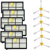 Semoic 3サイドブラシとHEPAフィルター iRobot Roomba 800 900シリーズ805 860 870 871 880 890 960 980ロボット掃除機(6セット)
