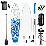 "FunWater TIKI Cruise Paddle Board 10'6"" length 33""wide 6""thick Inflatable SUP with Adjustable Paddle, ISUP Travel Backpack, Coil Leash, High Pressure Pump and Waterproof phone Case"