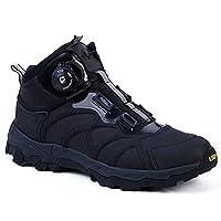 メンズ アウトドア ダイヤル式 トレッキングシューズ/コンバットブーツ ブラック 紐いらずのリール機能付き   軽量 防滑 防寒 快適 簡単脱着 登山靴 (27.5, ブラック)