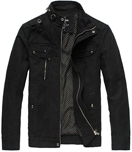Wantdo メンズ ミリタリージャケット 長袖 アウター 男性用 スタンドカラー 軽量