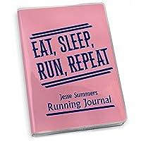 """Eat Sleep Run Running繰り返しでジャーナル紙ジャーナル  A  実行Gone複数の色 7.5"""" X 5"""" ピンク"""