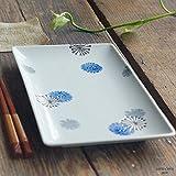 有田焼 波佐見焼 揚げたてサクッと串揚げフライ皿 長角皿 フラワー たんぽぽ ブルー青 魚皿 さんま皿 和食器 角長皿
