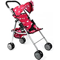 The New York Doll Collection My First Doll Stroller with Basket and Heart Design Foldable Doll Stroller, Pink by The New York Doll Collection [並行輸入品]
