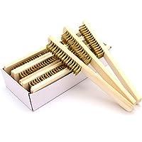 Cheng-store 木製ハンドルワイヤーブラシ 金属錆ブラシ DIY手動ブラシ 木製 ステンレス鋼 1個入り 手工具 木ハンドル クリーニングツール 洗浄効果