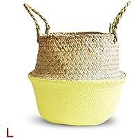 手織りフラワーバスケット 折りたたみ式ポット 汚れた服のバスケット フルーツバスケット 北欧植物の花籠 手作り花バスケット 収納バスケット シーグラス 折りたたみかご 多機能かご